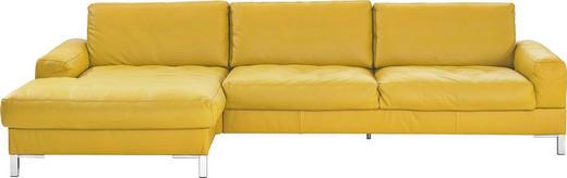 WOHNLANDSCHAFT Echtleder - Chromfarben/Gelb, Design, Leder/Metall (180/314cm) - Musterring