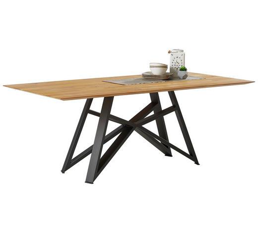 ESSTISCH Eiche massiv Anthrazit, Eichefarben  - Eichefarben/Anthrazit, Design, Holz/Metall (200/100/77cm) - Musterring