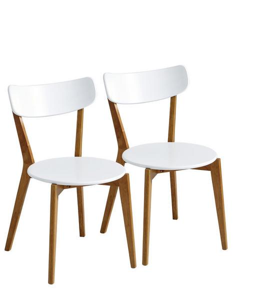 STUHL-SET Kautschukholz massiv Naturfarben, Weiß - Weiß/Naturfarben, Trend, Holz (46/78/55,5cm) - Xora