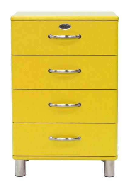 KOMMODE Gelb - Gelb/Nickelfarben, Design, Metall (60/92/41cm) - CARRYHOME
