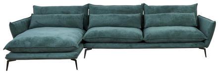 WOHNLANDSCHAFT in Textil Grün  - Schwarz/Grün, Design, Textil/Metall (165/338cm) - Hom`in