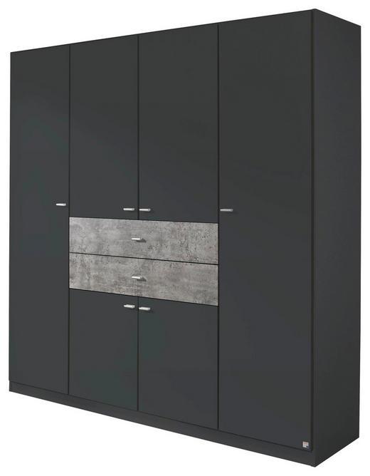 DREHTÜRENSCHRANK 6  -türig Grau - Alufarben/Grau, Design, Holzwerkstoff/Kunststoff (181/197/54cm) - Carryhome