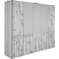 Drehtürenschrank in furniert, mehrschichtige Massivholzplatte (Tischlerplatte) Eiche Eichefarben, Grau - Eichefarben/Grau, Natur, Glas/Holz (252/226/63cm) - Voglauer