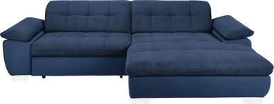 WOHNLANDSCHAFT in Textil Blau  - Chromfarben/Blau, Design, Textil/Metall (265/180cm) - Carryhome