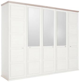 DREHTÜRENSCHRANK 5  -türig Grau, Weiß - Weiß/Grau, LIFESTYLE, Glas/Holzwerkstoff (255/209/60cm) - HOM`IN