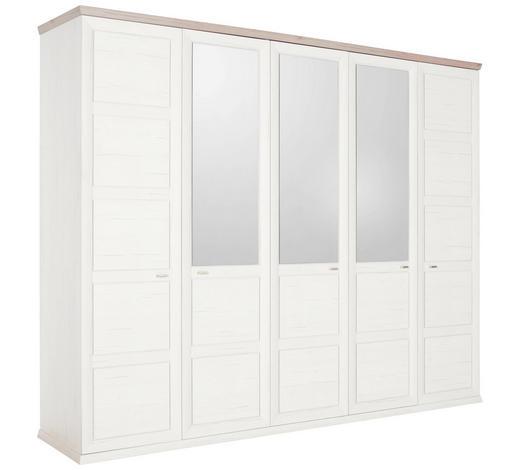DREHTÜRENSCHRANK in Grau, Weiß - Weiß/Grau, LIFESTYLE, Glas/Holzwerkstoff (255/209/60cm) - Hom`in