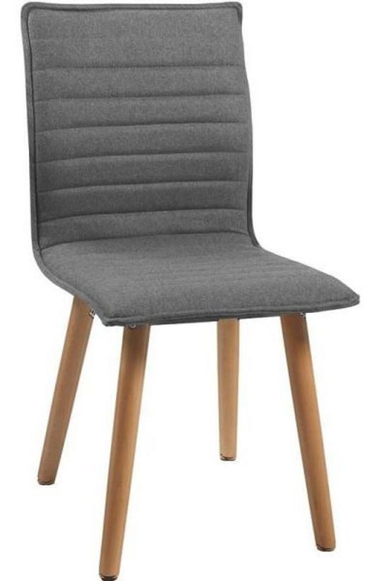 STUHL Eiche massiv Eichefarben, Hellgrau - Eichefarben/Hellgrau, Design, Holz/Textil (44/90/53cm) - Carryhome