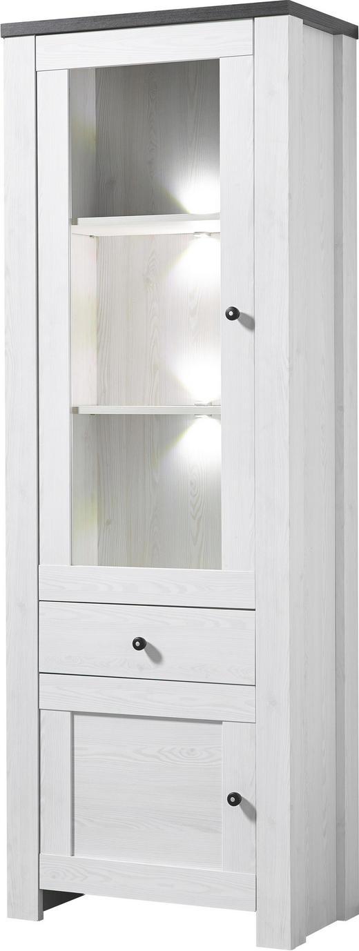 VITRINE Pinienfarben, Weiß - Weiß/Pinienfarben, Design, Glas/Holz (70/203/40cm) - Carryhome