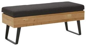 GARDEROBENBANK - Eichefarben/Anthrazit, Design, Holz/Textil (118/49/41cm) - VALNATURA