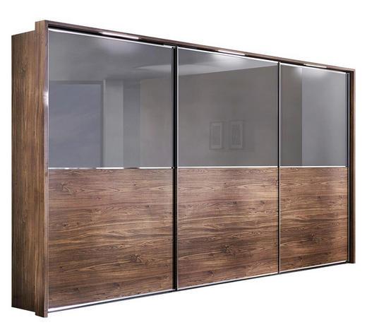 SKŘÍŇ S POSUVNÝMI DVEŘMI, barvy grafitu, barvy ořechu - barvy grafitu/barvy chromu, Design, kompozitní dřevo/sklo (300/223/69cm) - Visionight