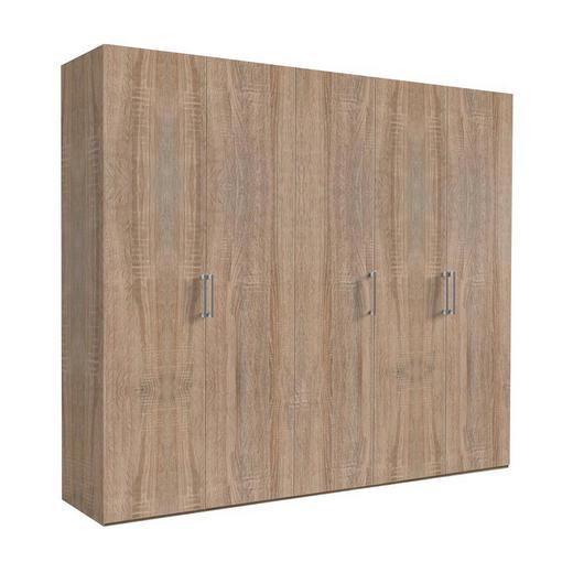 DREHTÜRENSCHRANK 5-türig Sonoma Eiche - Weiß/Sonoma Eiche, KONVENTIONELL, Holzwerkstoff/Metall (250/216/58cm) - Hom`in