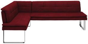 ECKBANK 154/213 cm  in Chromfarben, Bordeaux  - Chromfarben/Bordeaux, Design, Textil/Metall (154/213cm) - Novel