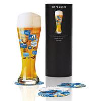 WEIZENBIERGLAS 500 ml - Blau/Gelb, Trend, Glas (11/11/29cm) - Ritzenhoff
