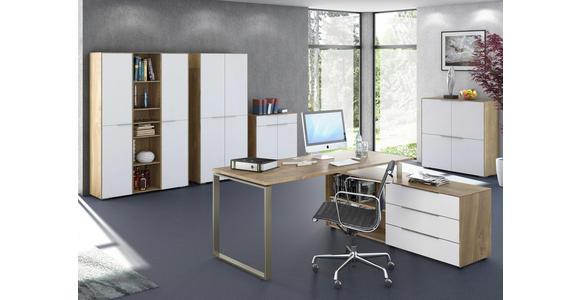 ROLLCONTAINER - Eichefarben/Alufarben, Design, Glas/Holzwerkstoff (39,8/60,9/50cm) - Voleo