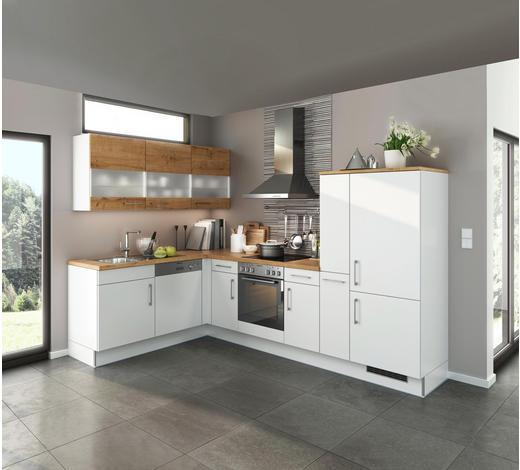 ECKKÜCHE E-Geräte, Spüle, Soft-Close-System - Eichefarben/Weiß, Design (185/295cm) - Stylife