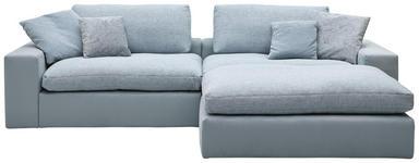 WOHNLANDSCHAFT Blau Chenille, Mikrofaser - Blau/Schwarz, Design, Kunststoff/Textil (296/180cm) - Hom`in