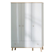 KLEIDERSCHRANK 3  -türig Birkefarben, Weiß - Birkefarben/Weiß, Design, Holz/Holzwerkstoff (125,1/198,7/56,3cm) - PAIDI