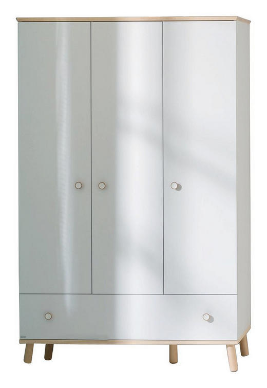 KLEIDERSCHRANK 3-türig Birkefarben, Weiß - Birkefarben/Weiß, Design, Holz/Holzwerkstoff (125,1/198,7/56,3cm) - Paidi