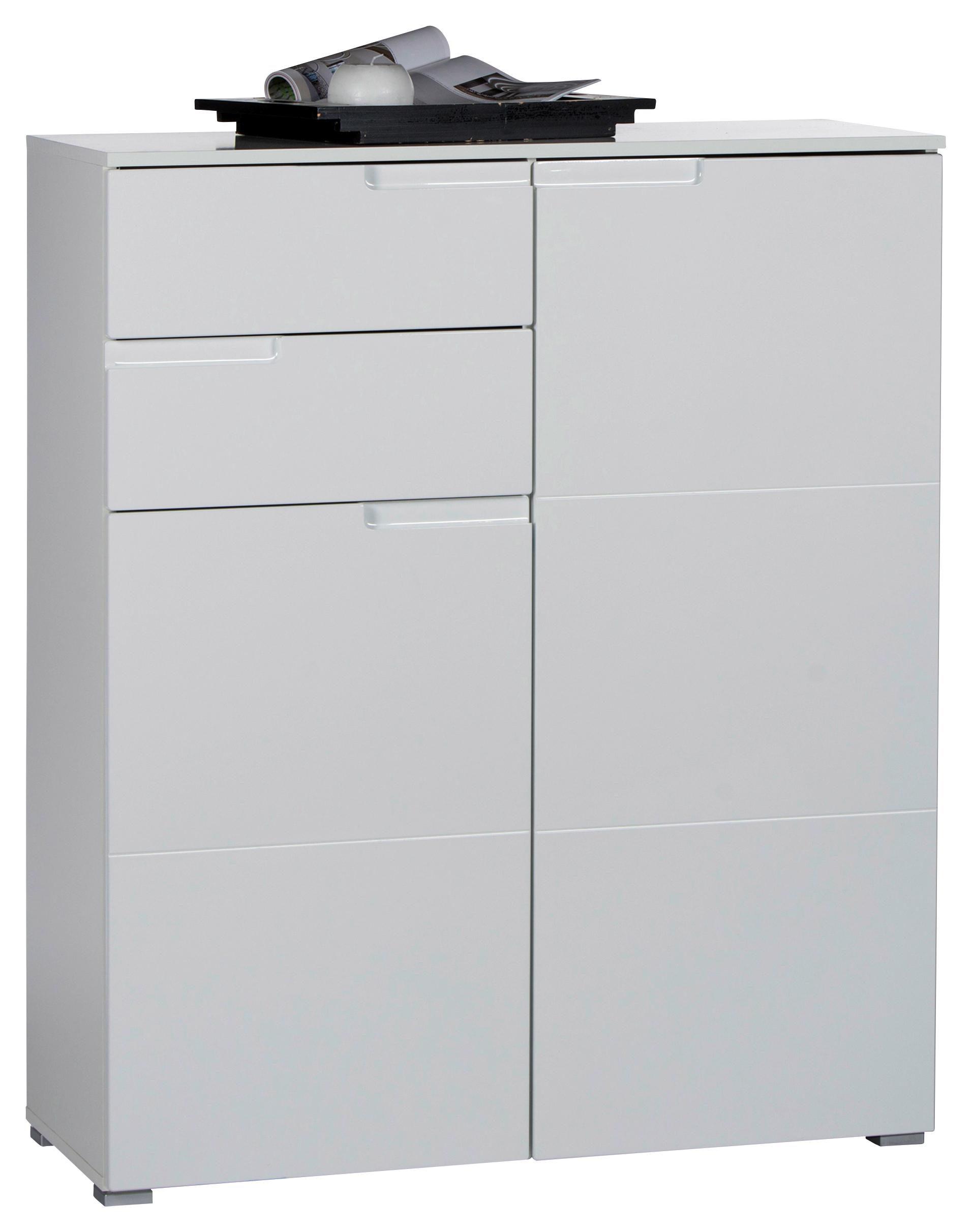 KOMODA - Srebrna/Bela, Dizajnerski, Plastika/Pločasti materijal (100/119/40cm) - Xora