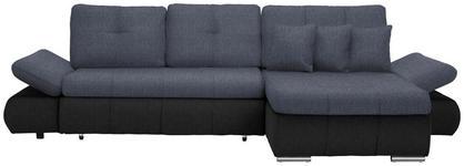 WOHNLANDSCHAFT in Textil Anthrazit, Dunkelblau  - Chromfarben/Anthrazit, Design, Kunststoff/Textil (302/187cm) - Carryhome