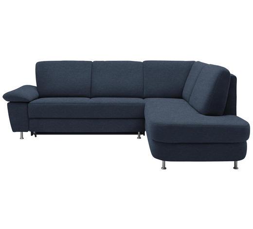 WOHNLANDSCHAFT in Textil Blau  - Blau/Alufarben, KONVENTIONELL, Textil/Metall (262/212cm) - Ada Austria