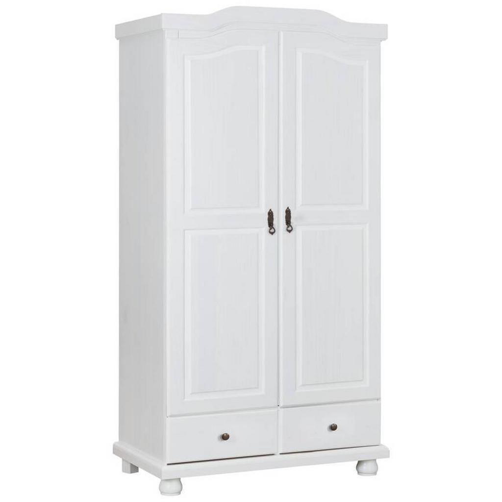 MID.YOU Schrank kiefer massiv lackiert weiß , Reutte , Holz , 5 Fächer , 5  Schubladen , 105x5x5 cm , lackiert,Echtholz ,