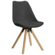 STUHL Lederlook Eiche massiv Eichefarben, Grau - Eichefarben/Grau, Design, Holz/Kunststoff (48/82/56cm) - CARRYHOME