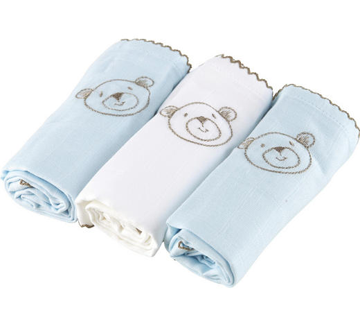 STOFFWINDEL - Weiß/Hellblau, Basics, Textil (60/60cm)