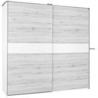 SKŘÍŇ S POSUVNÝMI DVEŘMI, barvy dubu, bílá - bílá/barvy stříbra, Design, dřevěný materiál (215/210/63cm) - Carryhome