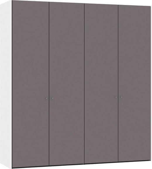 FALTTÜRENSCHRANK 2-türig Dunkelgrau, Weiß - Dunkelgrau/Silberfarben, Design, Glas/Holzwerkstoff (202,5/220/58,5cm) - Jutzler