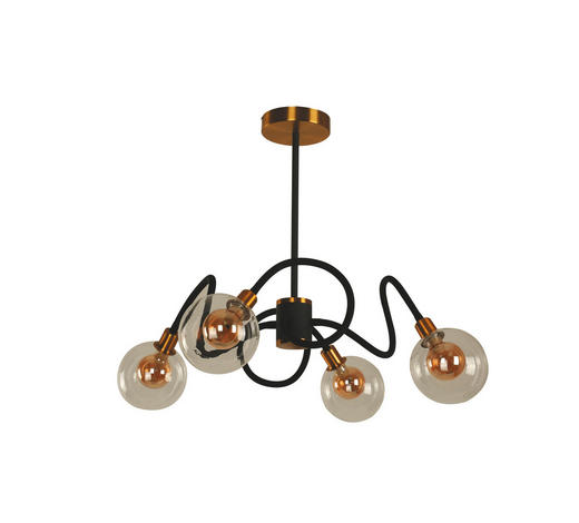 LED-HÄNGELEUCHTE - Klar/Goldfarben, Design, Glas/Metall (120/74,5cm)