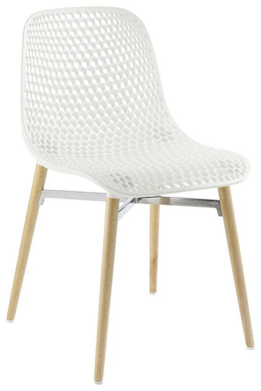 STUHL in Holz, Kunststoff Buchefarben, Weiß - Buchefarben/Weiß, Design, Holz/Kunststoff (45,4/79/54,7cm)