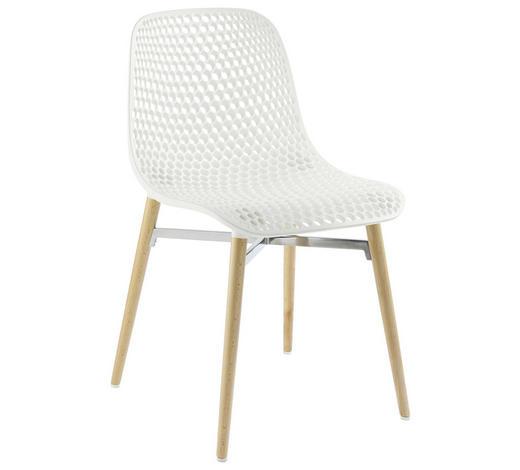 Stuhl In Holz Kunststoff Weiss Buchefarben