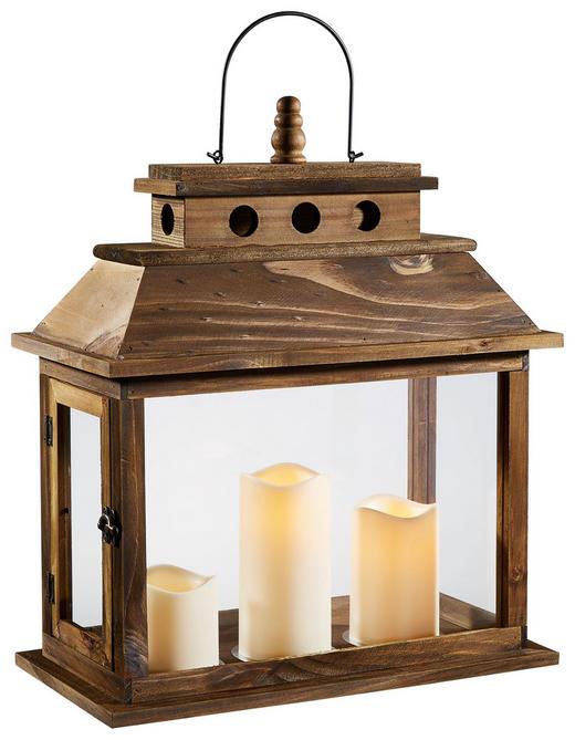 Laterne inkl. LED-Kerzen braun - Braun, Trend, Holz (20/40/52cm)