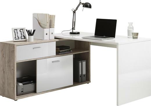 ECKSCHREIBTISCH Weiß, Eichefarben - Eichefarben/Alufarben, Design, Kunststoff (138/75/138cm) - Carryhome