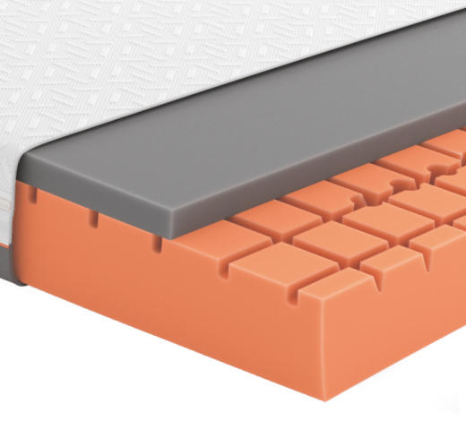 GELSCHAUMMATRATZE Primus 310 90/200 cm 26 cm - Dunkelgrau/Weiß, Basics, Textil (90/200cm) - Schlaraffia