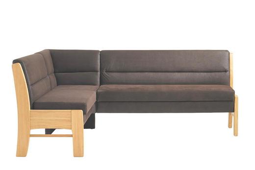 ECKBANK Wildeiche massiv Dunkelbraun, Eichefarben - Eichefarben/Dunkelbraun, KONVENTIONELL, Holz/Textil (169/217cm) - MODERANO