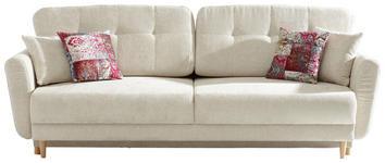 DREISITZER-SOFA in Creme Textil - Beige/Multicolor, Design, Holz/Textil (235/87/98cm) - Hom`in