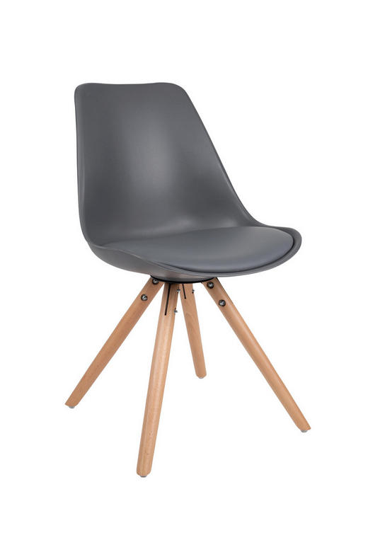 STUHL Lederlook Dunkelgrau - Dunkelgrau/Buchefarben, Design, Holz/Textil (55/48/82cm)