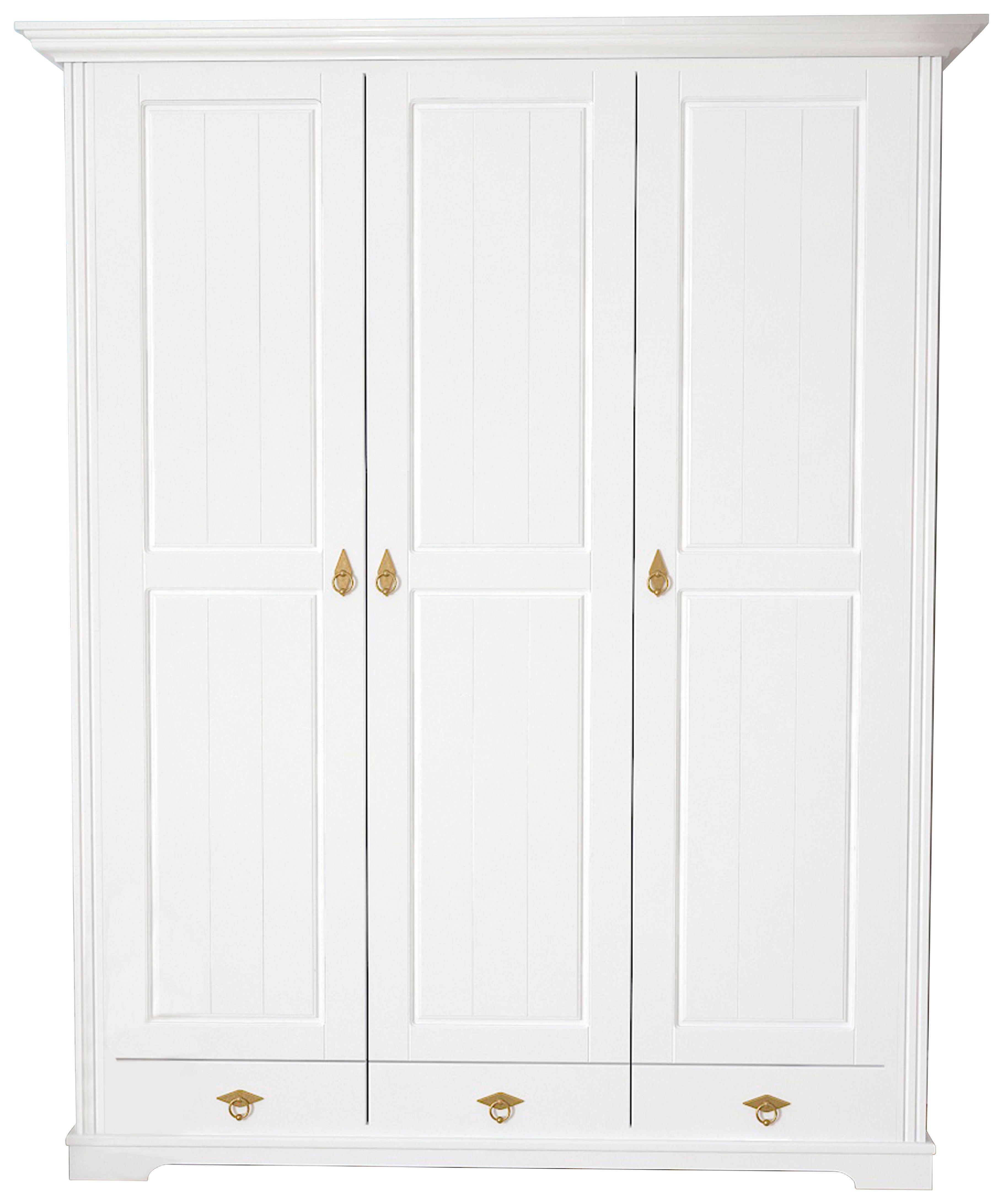 Attractive KLEIDERSCHRANK 3  Türig Kiefer Teilmassiv Weiß   Messingfarben/Weiß,  LIFESTYLE, Holz/ Home Design Ideas
