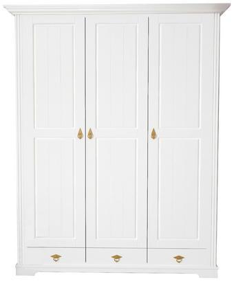 KLEIDERSCHRANK 3  -türig Kiefer teilmassiv Weiß - Messingfarben/Weiß, LIFESTYLE, Holz/Holzwerkstoff (156/194/59cm) - LANDSCAPE