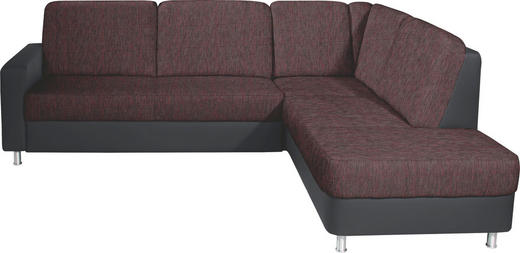 WOHNLANDSCHAFT in Textil Rot, Schwarz - Rot/Alufarben, KONVENTIONELL, Textil/Metall (245/200cm) - Xora