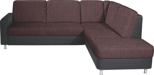 WOHNLANDSCHAFT Lederlook, Webstoff - Rot/Schwarz, KONVENTIONELL, Textil/Metall (245/200cm) - Xora