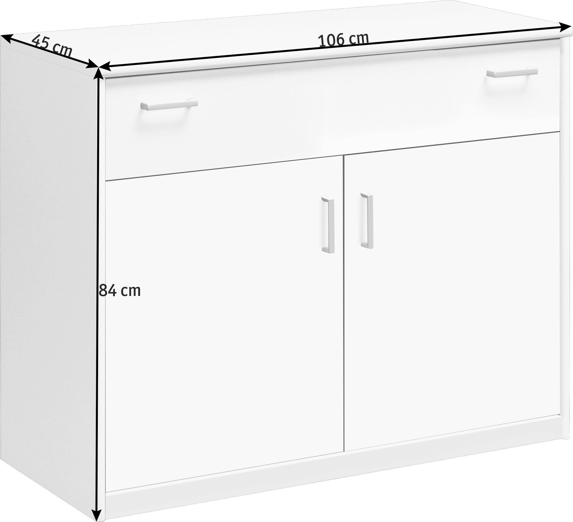 KOMMODE Weiß - Alufarben/Weiß, Design, Holz/Holzwerkstoff (106/84/45cm) - CS SCHMAL