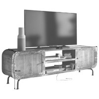 tv element mangoholz teilmassiv antik multicolor multicolor trend holz metall