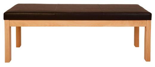 HOCKERBANK Lederlook Kernbuche massiv Braun, Buchefarben - Buchefarben/Braun, Natur, Holz/Textil (130cm) - Voleo