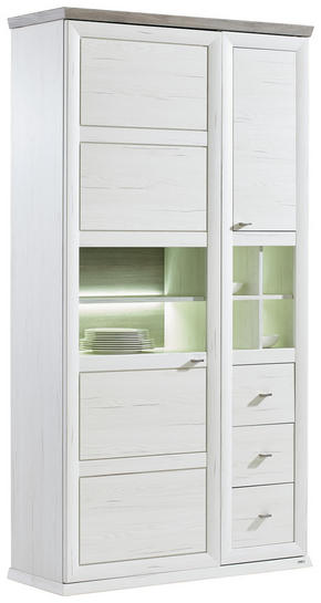 VITRINSKÅP - vit/nickelfärgad, Lifestyle, metall/glas (110/209/43cm) - Hom`in
