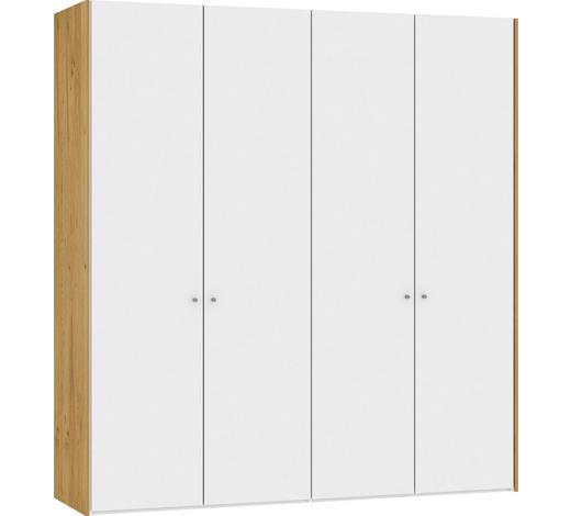FALTTÜRENSCHRANK in furniert Eiche Weiß, Eichefarben - Eichefarben/Silberfarben, Design, Glas/Holz (205,1/220/58,5cm) - Jutzler