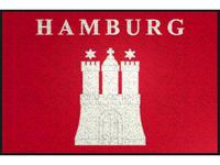 FUßMATTE 50/75 cm Rot, Weiß  - Rot/Weiß, Basics, Kunststoff/Textil (50/75cm) - Esposa