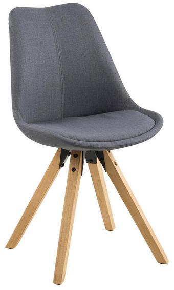 STUHL Flachgewebe Kautschukholz massiv Dunkelgrau - Dunkelgrau/Eichefarben, Design, Holz/Textil (48,5/85/55cm) - Carryhome